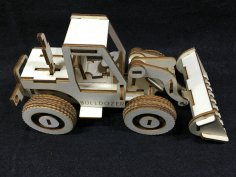 Bulldozer Laser Cut Wooden 3D Model Puzzle Kit Free Vector