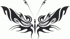 Tribal Butterfly Vector Art 34 DXF File