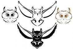 Owl Silhouette Vectors Free Vector