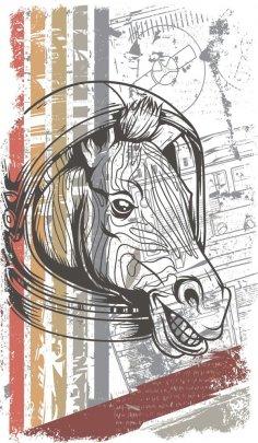 Horse vector T-shirt print Free Vector