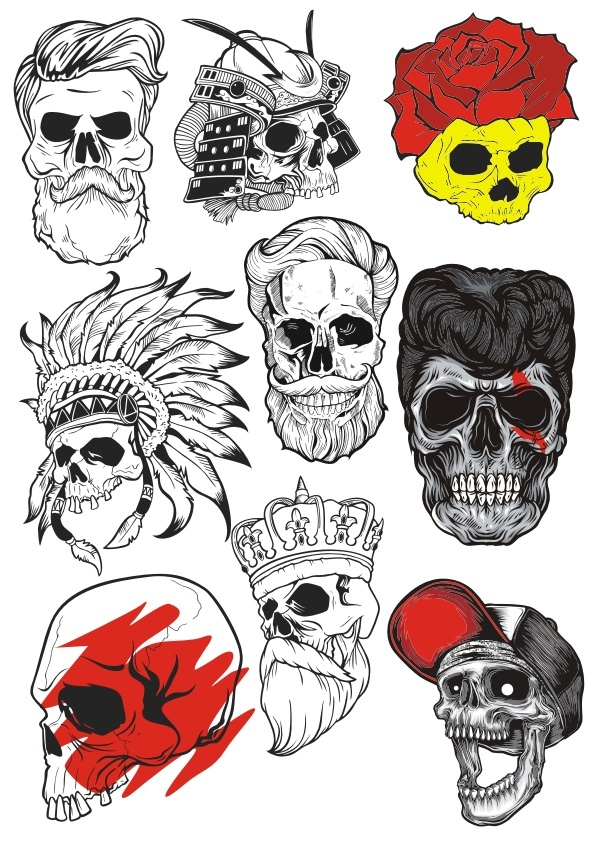 Bearded Skulls Vector Illustration Free Vector