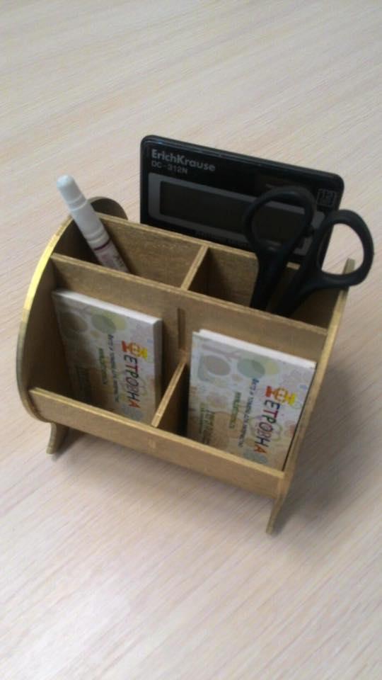 Laser Cut Plywood Desk Organizer Free Vector