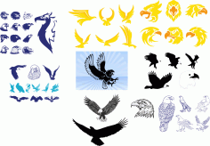 Tribal Wing Tattoos Vector Art Collection Free Vector