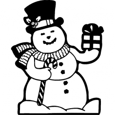 Cheerful snowman dxf File