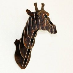 Laser cut Giraffe Wooden Animal Head dxf File