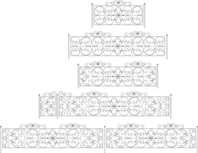 Decorative Black White Fences Set Free Vector