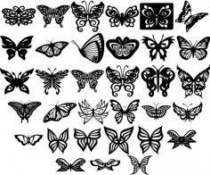 Butterfly Ornaments Decor DXF File