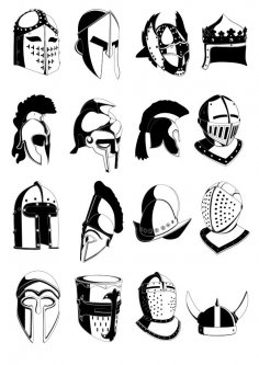 Ancient helmets vector Free Vector
