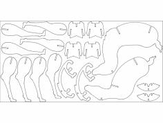 santa's Reindeer dxf File