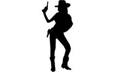 Cowgirl With Gun dxf File