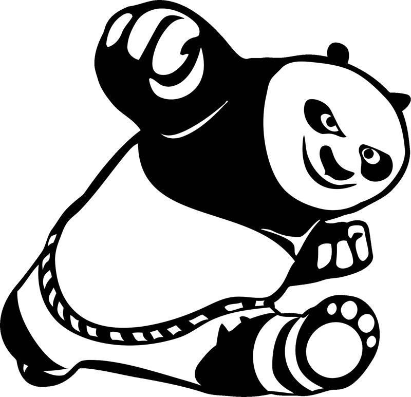 Car Stickers Cute Kung Fu Panda Free Vector