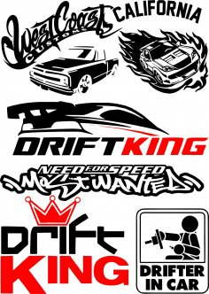 Vinyl stickers Drift in Car Vector Pack Free Vector