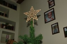 Laser Cut Star On Christmas Tree New Year Free Vector