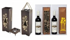 Laser Cut Wine Bottle Packaging 3mm Free Vector