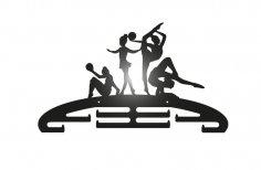 Laser Cut Gymnastics Sport Medal Hanger DXF File