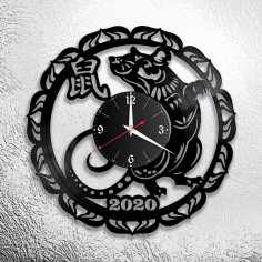Laser Cut New Year 2020 Wall Clock DXF File