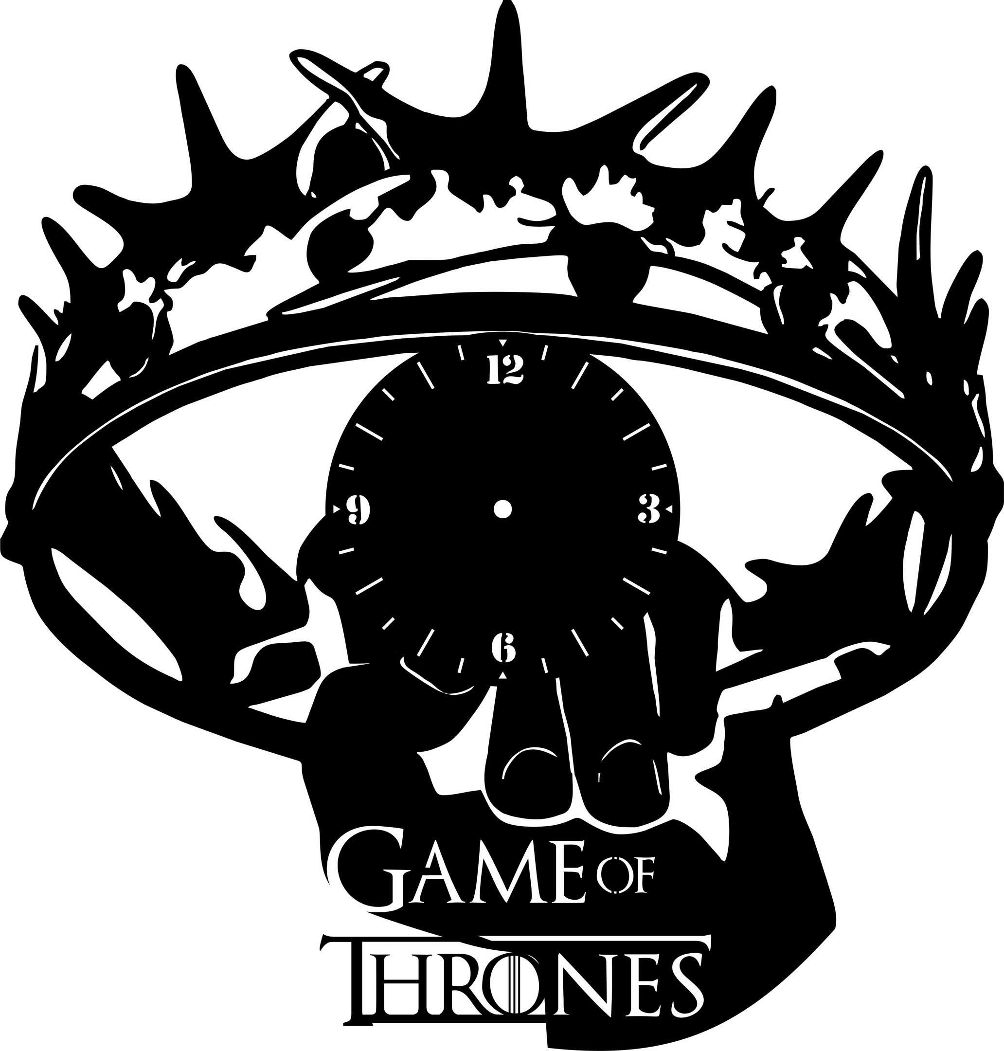 Laser Cut Game Of Thrones Wall Clock Template Free Vector
