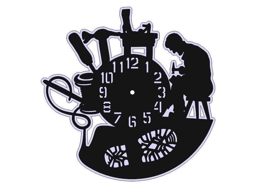Laser Cut Vinyl Record Clock Free Vector
