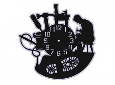 Laser Cut Vinyl Record Clock Free Vector