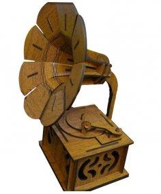 Laser Cut Wooden Gramophone 3D Model DXF File