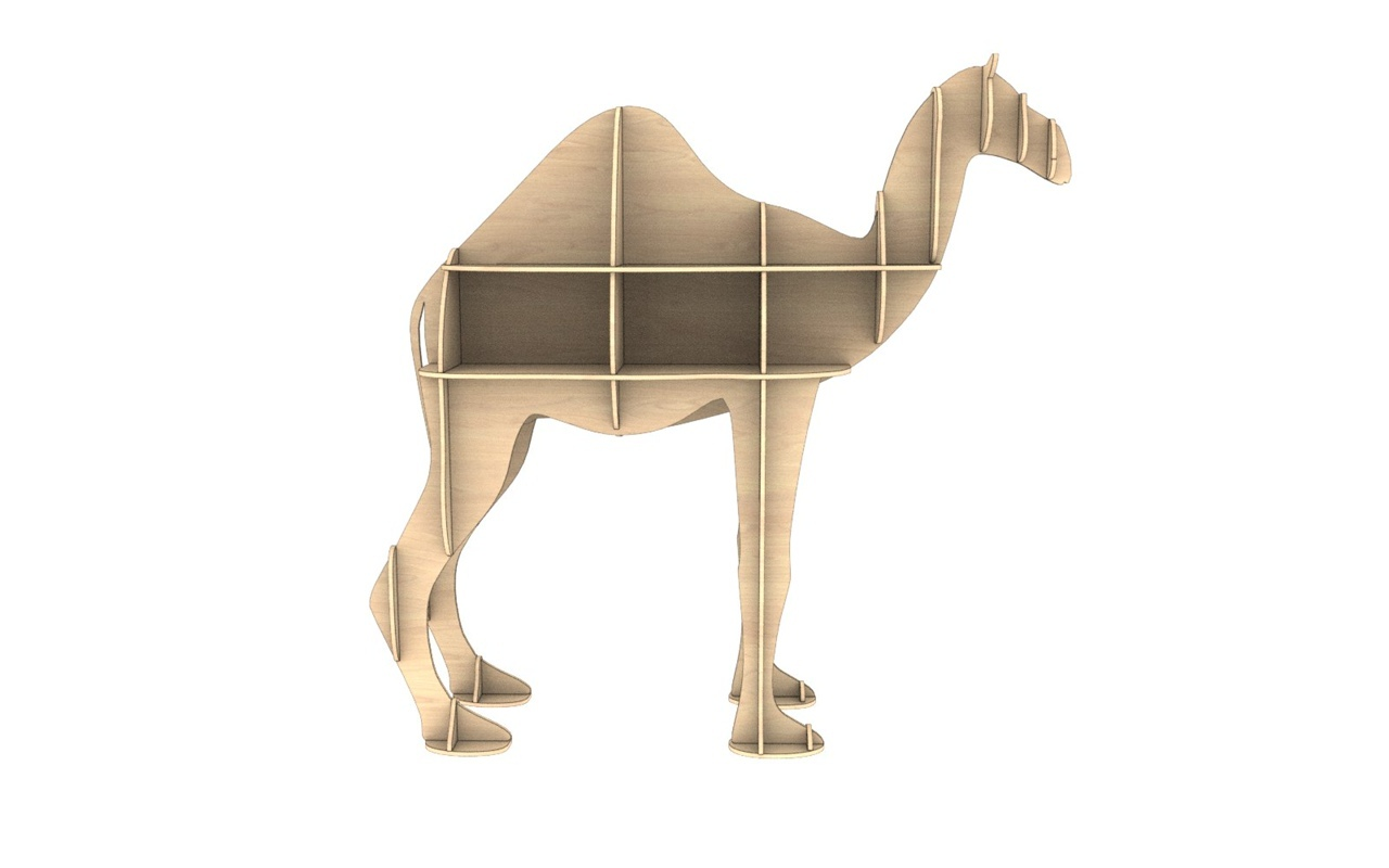 Laser Cut Wooden Camel Shelf Modern Storage Shelf Free Vector