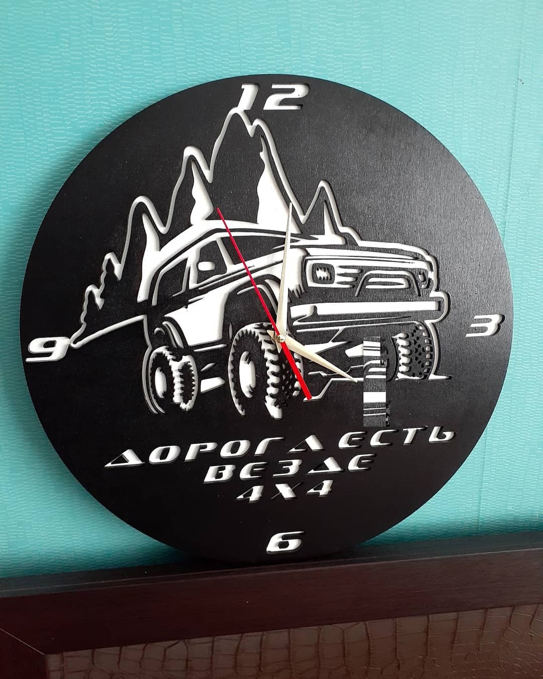 Laser Cut 4×4 Wall Clock Free Vector