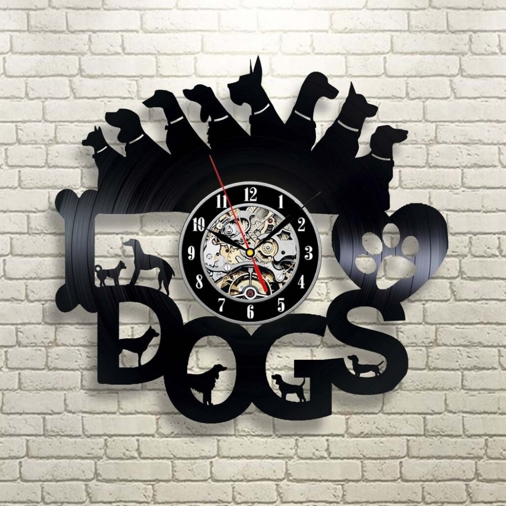 Laser Cut Dogs Wall Clock Gift For Dog Lover DXF File