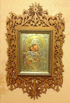 Laser Cut Wooden Orthodox Frame Free Vector