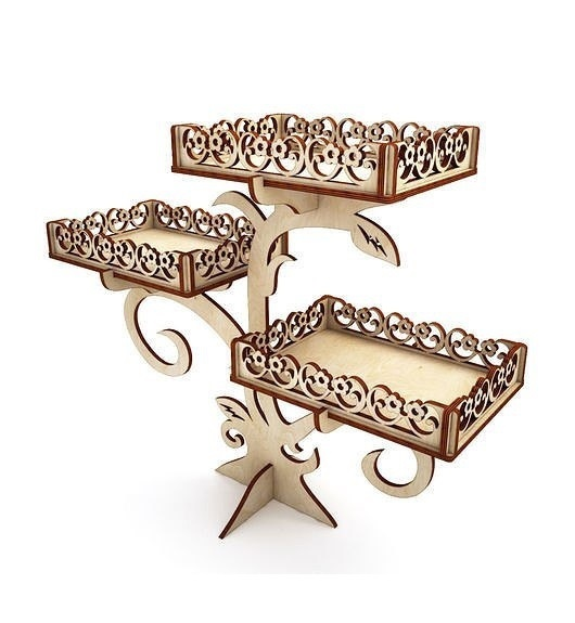 Laser Cut Wooden Decor Cupcake Stand Party Decoration Free Vector