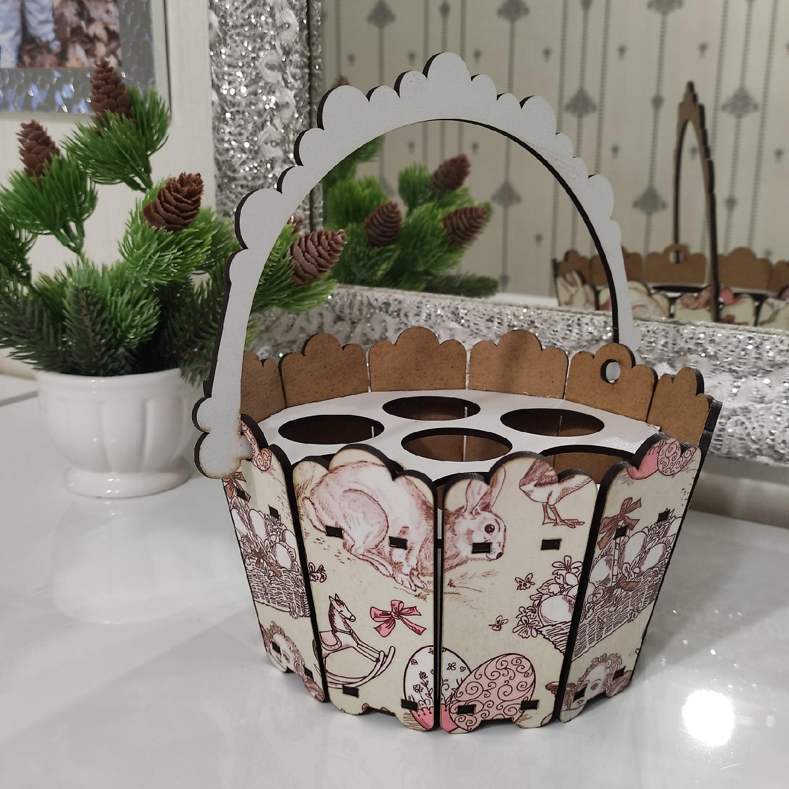 Laser Cut Easter Bucket Decor Easter Basket Free Vector