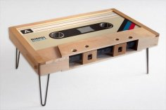 Laser Cut Wooden Cassette Tape Coffee Table Free Vector
