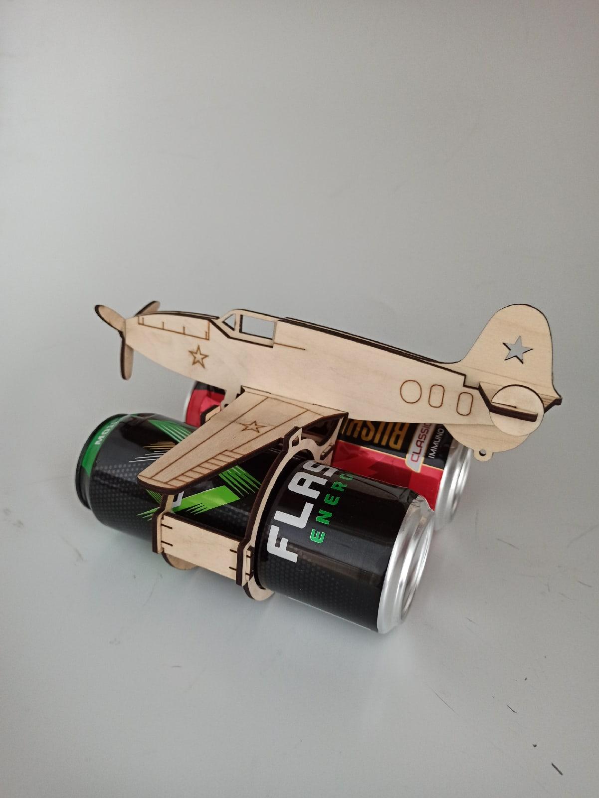 Laser Cut Aircraft Shaped Beer Holder Free Vector