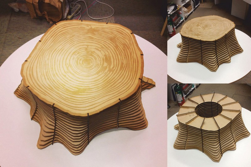 Tree Base Table Stool Chair Plywood DXF File