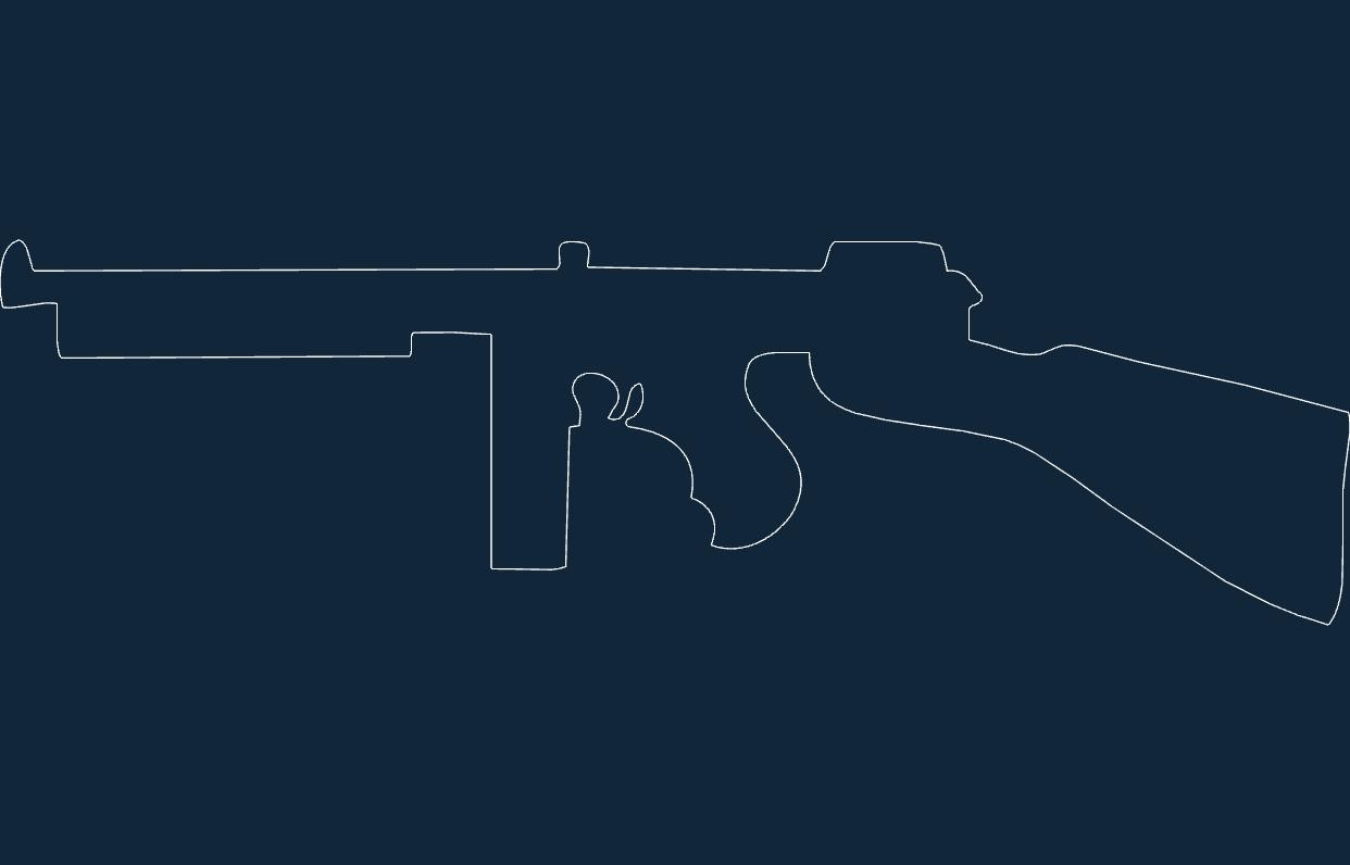 Thompson submachine gun dxf file