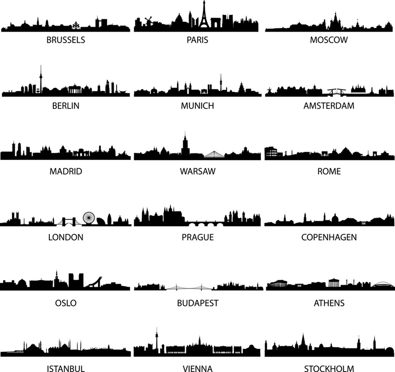 Cities Silhouettes Free Vector