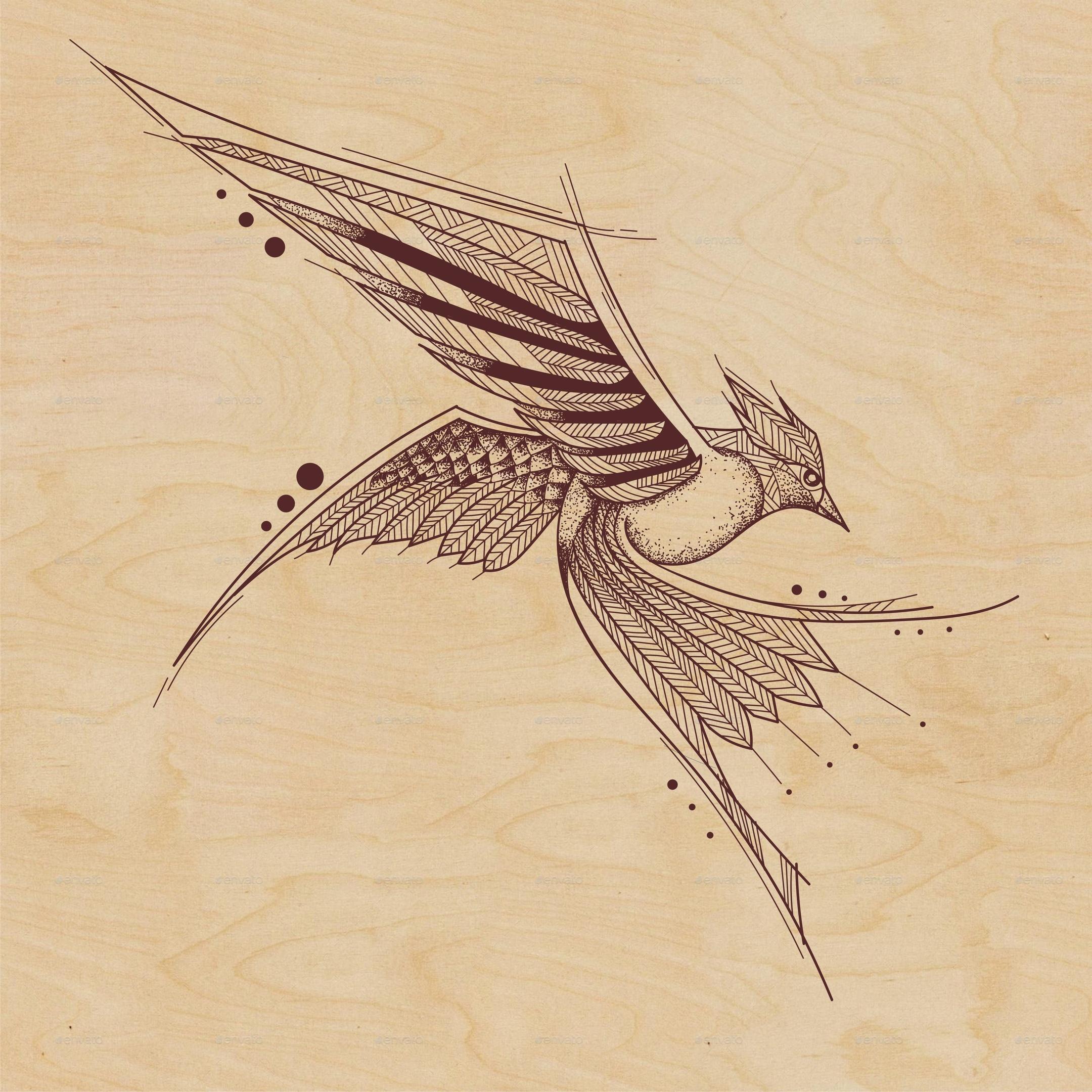 Stencil Laser Cutting Vector Bird Free Vector