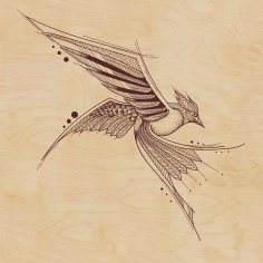 Stencil Laser Cutting Vector Bird Free Vector