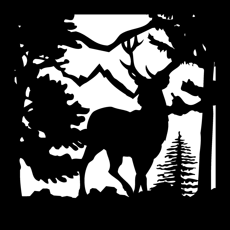 24 X 24 Buck Trees Mountain Plasma Art DXF File
