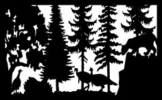 30 X 48 Mountain Lion And Turkeys Plasma Art DXF File