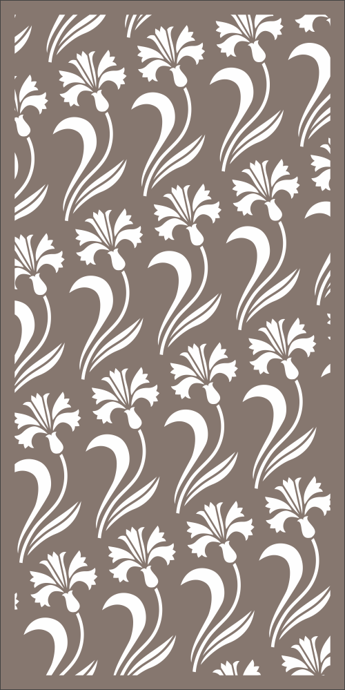 Seamless Floral Room Divider Pattern Laser Cut Free Vector