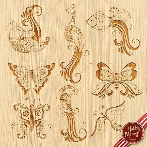 Set of Decorative Birds Free Vector