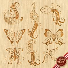 Set of Decorative Birds Free Vector