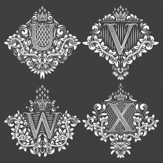 Beautiful Ornament Letters Vector Set Free Vector
