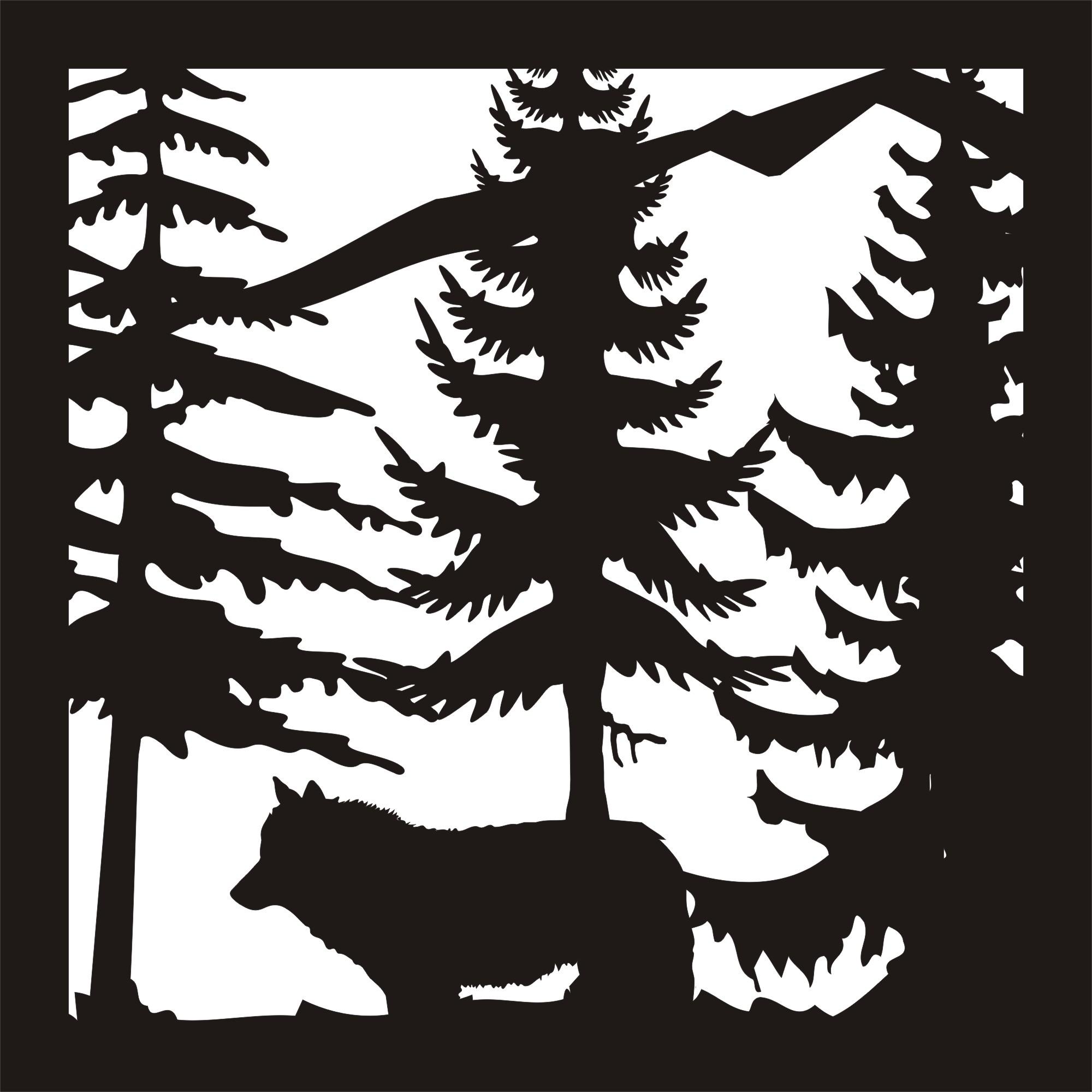 24 x24 New Wolf Trees Mountain Plasma Art DXF File