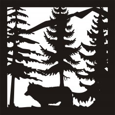 24 x24 New Wolf Trees Mountain Plasma Art DXF File