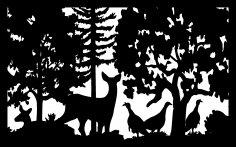 30 X 48 Two Does Three Turkeys Plasma Metal Art DXF File