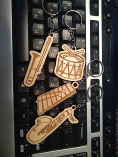 Laser Cut Engraved Musical Instrument Keychains Free Vector