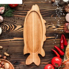 Wooden Platter Fish Style Tray Laser Cut CNC Scroll Saw Plans Free Vector