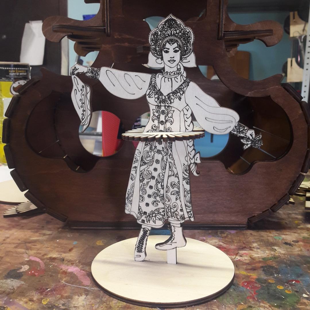 Laser Cut Napkin Holder Girl In Russian Folk Dance Dress Free Vector