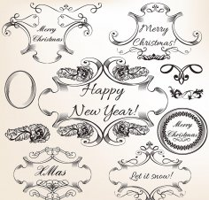 Decorative Elements and Ornaments Free Vector